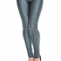 TEAL MERMAID SCALES PRINT ELASTIC WAIST SKINNY LEGGINGS