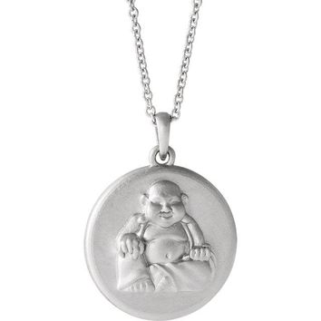 "Buddha Disc Pendant 18"" Necklace - 14k White, Yellow, Rose Gold or Sterling Silver"
