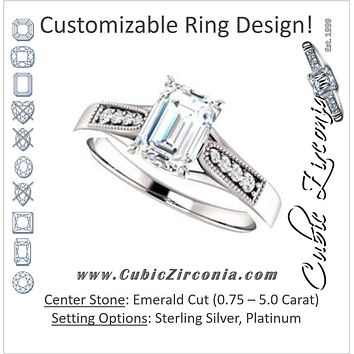 Cubic Zirconia Engagement Ring- The Ivana (Customizable 9-stone Vintage Design with Emerald Cut Center and Round Band Accents)