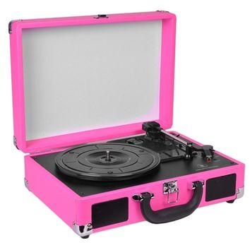 Innovative Technology 3-Speed Vintage Suitcase Turntable w-Built-in Stereo Speakers & Matching Headphones (Pink) - B