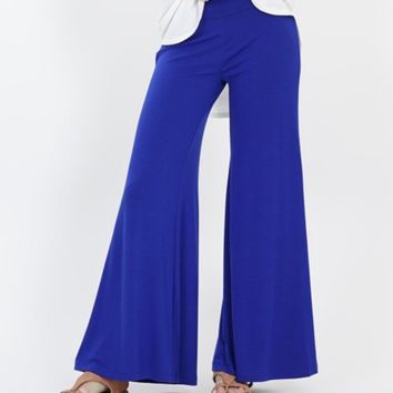 Royal Blue Plus Size Palazzo Pants