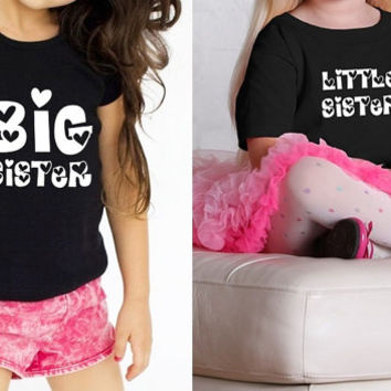 Big sister and little sister cute Graphic Print Matching baby girls, Twins, Sisters, Siblings Baby Toddler and Youth T-shirts (1 pair)
