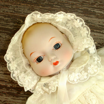 Vintage Porcelain Doll, 12 Inch Doll, White Christening Gown and Bonnet, Cloth Body, Bisque Doll, China Doll, Baby Doll, Vintage Doll