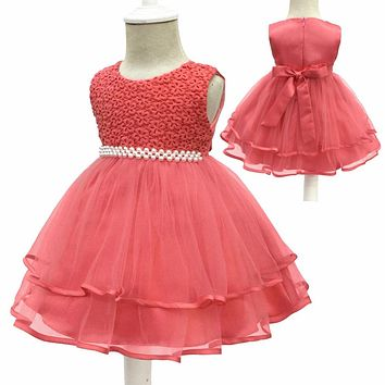 Free Shipping Cotton Lining 3M-18M Infant Dresses 2017 New Arrival Formal Baby Dress For 1 Year Girl Birthday Toddler Party Gown