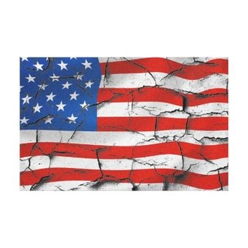 Patriotic American Flag USA Worn Cracked Paint Canvas Print