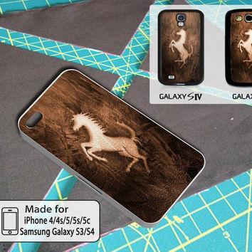 Horse Cover Wood Case For Iphone 4/4s/5/5s/5c and Samsung Galaxy S3/S4
