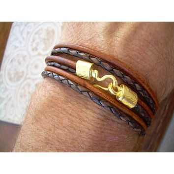 Triple Wrap Bracelet with 22k Gold Plated Hook Clasp, Leather Bracelet, Mens Bracelet, Womens Bracelet, Mens Jewelry, Womens Jewelry