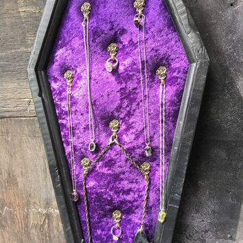 Large Coffin Jewelry Hanger, Coffin, Jewelry Hanger, Jewelry Organizer, Gothic, Goth, Horror, Halloween, Velvet, Salvaged Wood