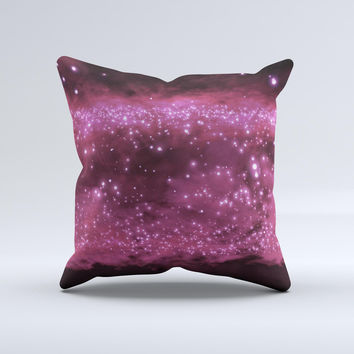 Glowing Hot Pink V3 Orbs of Light  Ink-Fuzed Decorative Throw Pillow