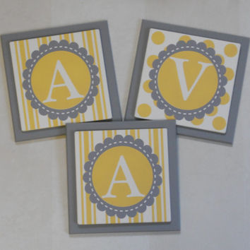 Yellow Gray Personalized Baby Nursery Name Blocks Letters Wall Decor - Stripe and Polkadot Painted Custom Design Wood Wall Letter Name Sign