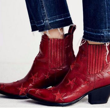 New Arrival Women Ankle Star Boots Oxford Vintage Style Pointed Toe Leather Riding Shoes Chunky Heels Western Cowboy Boots