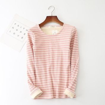 2018 Autumn Winter Women Striped T Shirt Tees Slim Warm Thicken Velvet T-Shirts Ladies Bottoming Long Sleeve Shirt Tops AB1050