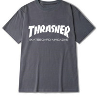 """Thrasher""Fashion print leisure short sleeve T-shirt Dark grey"
