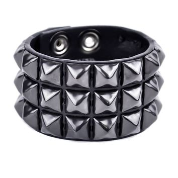3 Row Black Pyramid Stud Quality Leather Wristband Cuff Bracelet