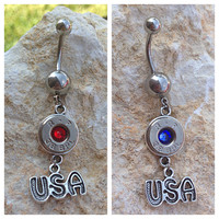 Bullet belly ring. 4th of July jewelry. Belly button ring with bullet casing and USA charm. America jewelry.