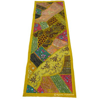 Yellow Decorative Antique Bridal Gown Patchwork Beaded Tapestry Runner