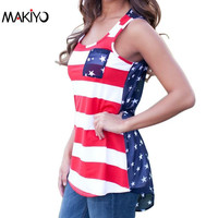 NEW Summer Sexy Women Sleeveless Tops American USA Flag Print Stripes Tank Top for Woman Blouse Vest Shirt *35