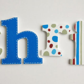 Bold Stripes, Polka Dots & Stitched Wooden Wall Name Letters / Hangings, Hand Painted for Boys Rooms, Play Rooms and Nursery Rooms