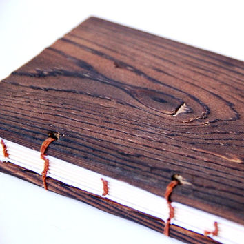WOODLAND - Handmade Wooden Cover Book - Masculine Notebooks Journal - Stocking Stuffer - FREE SHIPPING