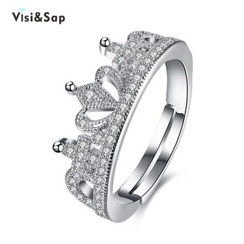Trendy Visisap Luxury King & Queen Crown Acceorises Open Rings For Women Men Valentine's Gifts Fashion Jewelry DropShipping VLKR946 AT_94_13