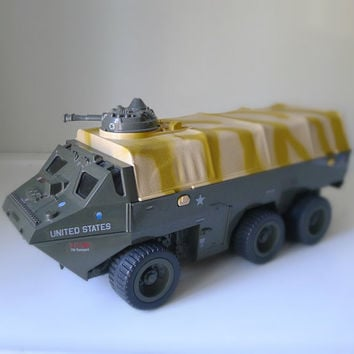 Vintage 1980s GI JOE APC Vehicle / Toy - gift for him, retro, 80s toys, military toy, army green, camouflage, desert brown