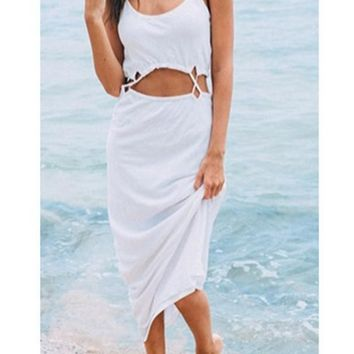 Streetstyle  Casual White Cut Out Spaghetti Strap Sleeveless Oversize Cotton Casual Maxi Dress