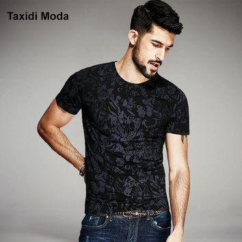2017 Summer Mens Casual T Shirts Black Flower Print Famous Brand Clothing Man's Short Sleeve Slim T-Shirts Male Wear Tops Tees