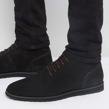 ASOS Desert Boots In Black Suede With Black Wedge Sole at asos.com