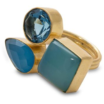 Blue Chalcedony and Glass Ring