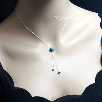 Turquoise Necklace - Sterling Silver Turquoise Lariat Necklace  - Stone Y Chain Necklace - Tiny Faceted Turquoise Pendant