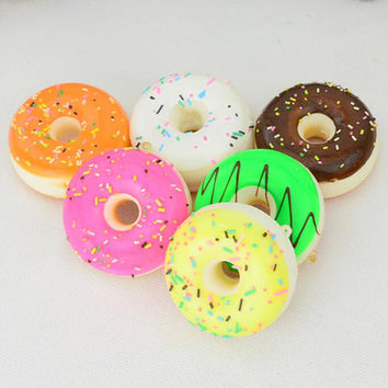 1PCS 5CM Squishy Mini Donut Key Chain Chocolate Noodles Sweet Roll Phone Charms Straps