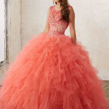 Vestidos 15 anos Coral Quinceanera Dresses Jeweled Beading Ruffled Ball Gown Keyhole Corset Back Aqua Sweet 16 Party Dress QD31
