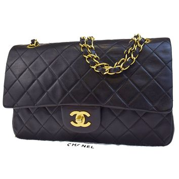Auth CHANEL CC Matelasse Double Flap Chain Shoulder Bag Leather Black 699BA153