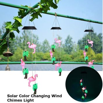 Waterproof Wind Chimes Flamingo LED Solar Light Color Changing LED Animals Bird Light Christmas Outdoor Home Garden Decoration