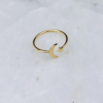 Moon & The Star Gold Ring