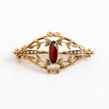 Antique Art Nouveau 10k Rose Gold Garnet & Seed Pearl Pin - Edwardian 1910s Two Tone Gold Leaf Vine Motif Elegant Fine Jewelry Brooch