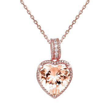 14k Rose Gold Finish Love Heart Solitaire Pendant Valentine's Set