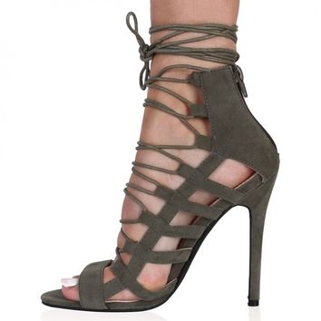 Michelle Lace Up Heels in Khaki Faux Suede
