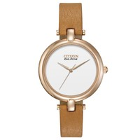 Ladies' Citizen Eco-Drive Silhouette Carmel Leather Strap Watch