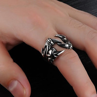 Cool Domineering Wolf Claws Fashion Personality Rock Style Men¡®s Titanium Steel Ring