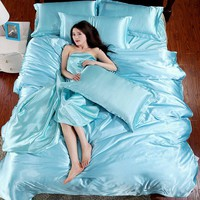 HOT Pure Satin Silk Bedding Set  Bedclothes Comforter Bedding Sets Duvet Cover Flat Sheet  Pillowcase Super King Queen