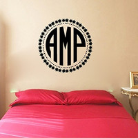 Stars and Monogram Initials Vinyl Wall Words Decal Sticker Graphic
