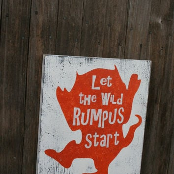 Let The Wild Rumpus Start Nursery Sign Where The Wild Things Are Nursery Orange Nursery Boys Nursery Decor Girls Nursery Decor Baby Gift