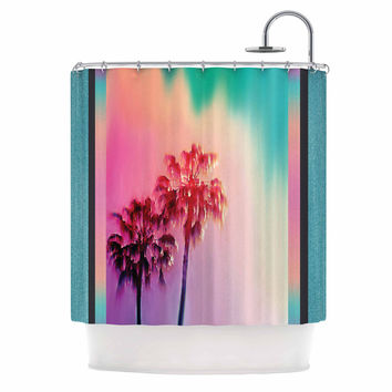"Nina May ""LA Rainbow"" Pink Blue Shower Curtain"