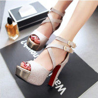 Summer Fashion Hollow Cross Buckle Band Exposed Toe Sandals Thick Heel Platform Heels Shoes
