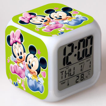Baby Mickey and Minnie7 Color Flash Changing Alarm Clock