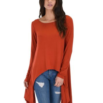 Lyss Loo Shift and Swing Long Sleeve Rust Tunic Top