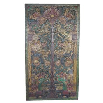 Vintage Hand Carved Teak Wood Kalpavriksha Tree of Dreams Barn Door Wall Art Relief Panel