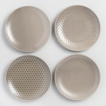 Taupe Textured Stoneware Salad Plates Set of 4