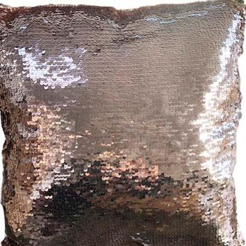 Rose Color Sequin Throw Pillow